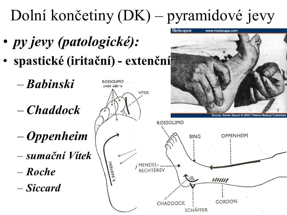 Dolní končetiny (DK) – pyramidové jevy py jevy (patologické): spastické (iritační) - extenční: –Babinski –Chaddock –Oppenheim –sumační Vítek –Roche –S