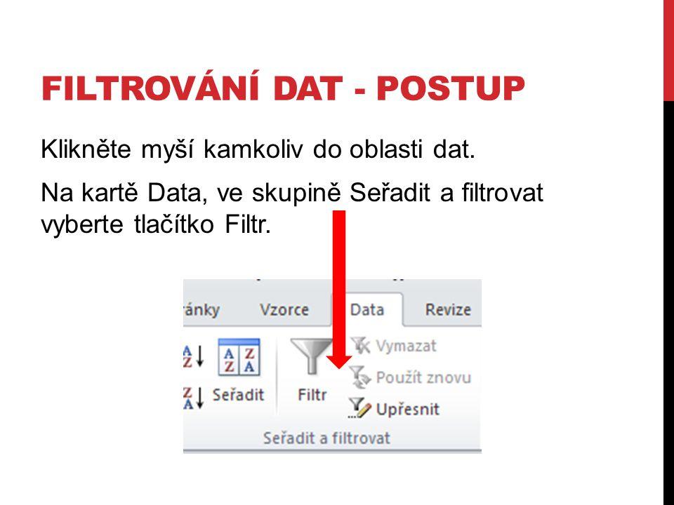 FILTROVÁNÍ DAT - POSTUP Klikněte myší kamkoliv do oblasti dat.