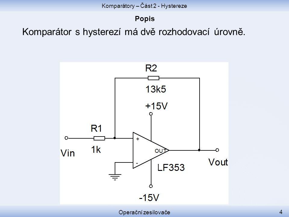 Komparátor s hysterezí má dvě rozhodovací úrovně. Komparátory – Část 2 - Hystereze Operační zesilovače 4