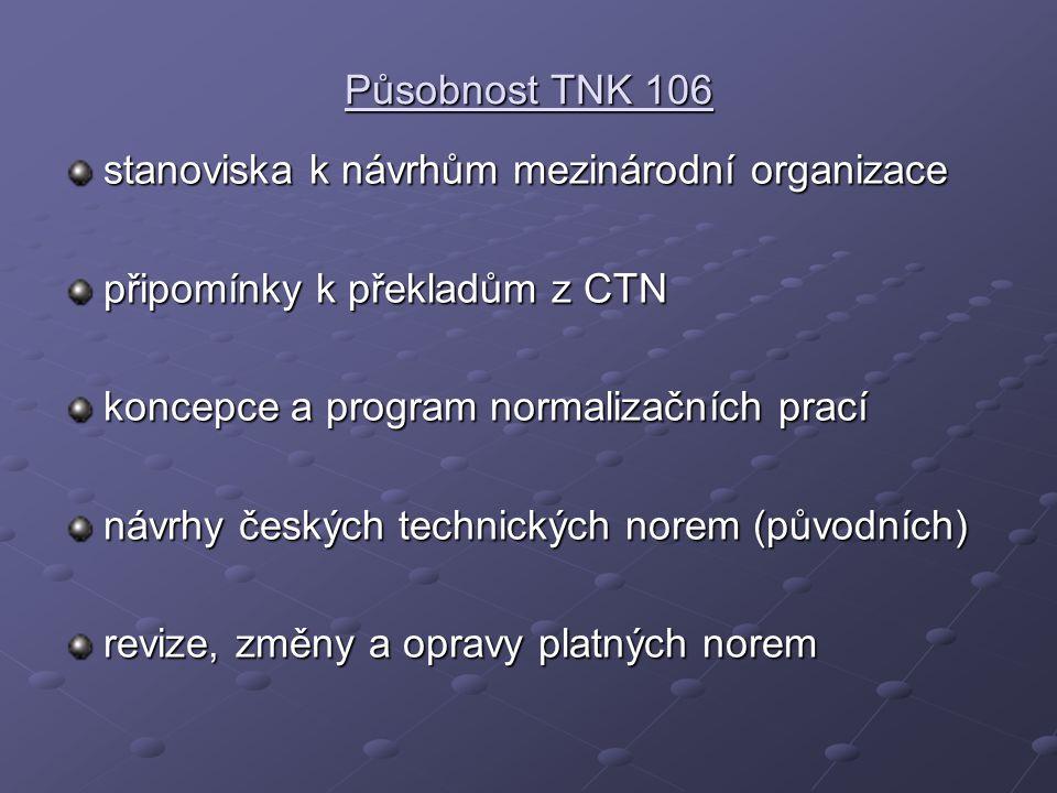 Působnost TNK 106 stanoviska k návrhům mezinárodní organizace připomínky k překladům z CTN koncepce a program normalizačních prací návrhy českých tech