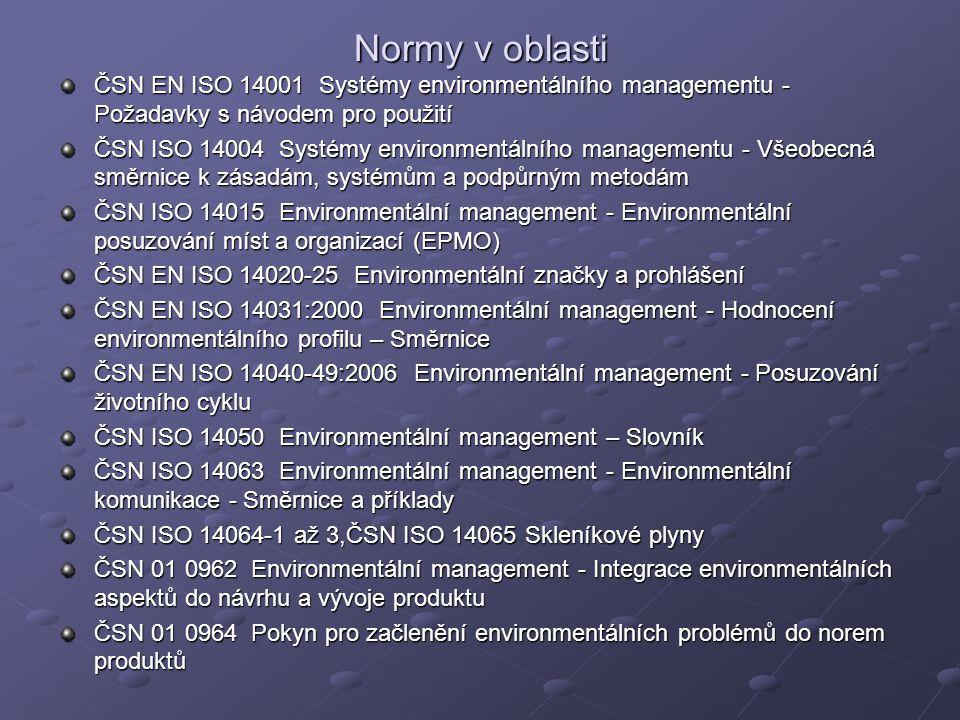 Normy v oblasti ČSN EN ISO 14001 Systémy environmentálního managementu - Požadavky s návodem pro použití ČSN ISO 14004 Systémy environmentálního manag