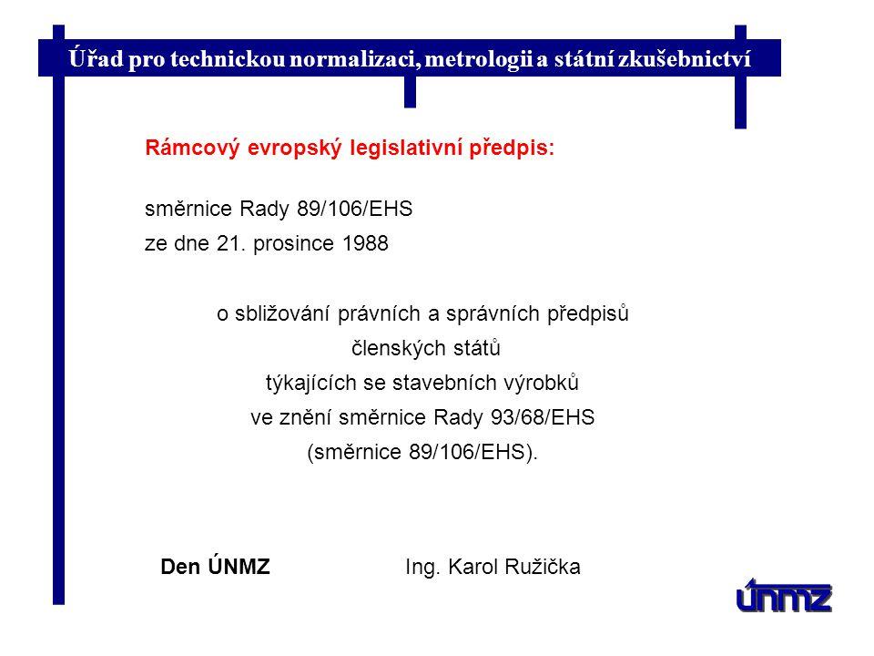 Úřad pro technickou normalizaci, metrologii a státní zkušebnictví Den ÚNMZIng. Karol Ružička Rámcový evropský legislativní předpis: směrnice Rady 89/1