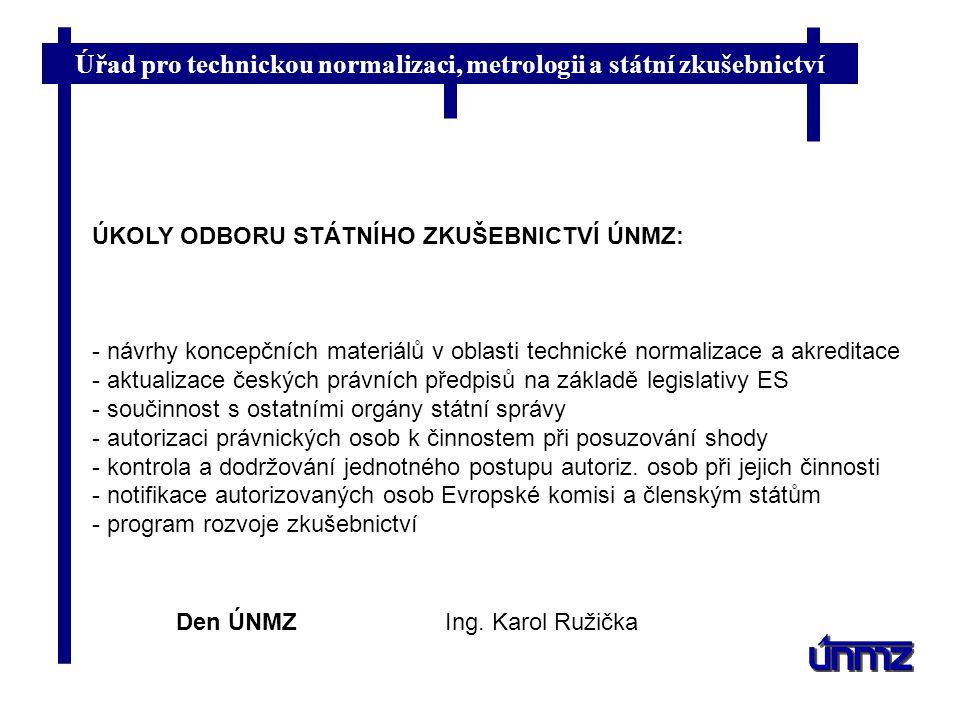 Úřad pro technickou normalizaci, metrologii a státní zkušebnictví Den ÚNMZIng. Karol Ružička ÚKOLY ODBORU STÁTNÍHO ZKUŠEBNICTVÍ ÚNMZ: - návrhy koncepč