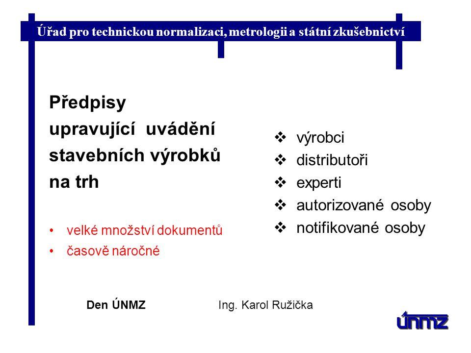 Úřad pro technickou normalizaci, metrologii a státní zkušebnictví Den ÚNMZIng. Karol Ružička  výrobci  distributoři  experti  autorizované osoby 