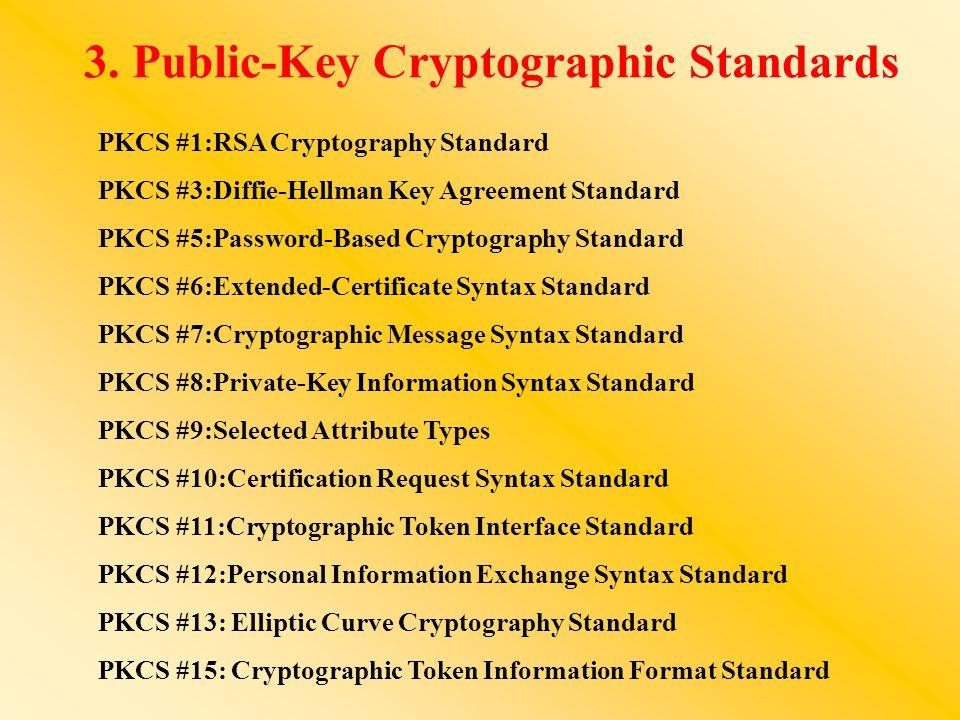 3. Public-Key Cryptographic Standards PKCS #1:RSA Cryptography Standard PKCS #3:Diffie-Hellman Key Agreement Standard PKCS #5:Password-Based Cryptogra