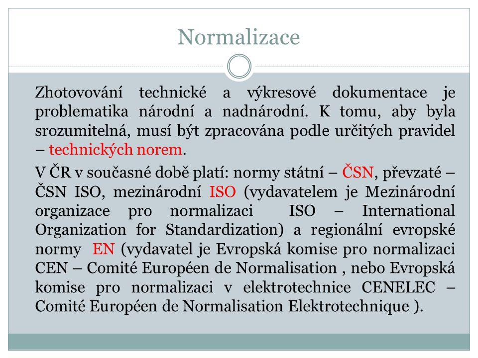 Normalizace Zhotovování technické a výkresové dokumentace je problematika národní a nadnárodní. K tomu, aby byla srozumitelná, musí být zpracována pod