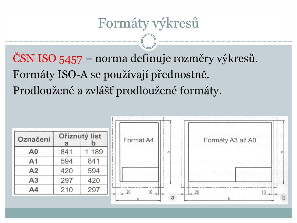 Formáty výkresů ČSN ISO 5457 – norma definuje rozměry výkresů. Formáty ISO-A se používají přednostně. Prodloužené a zvlášť prodloužené formáty.