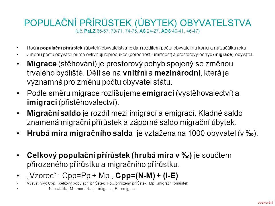 POPULAČNÍ PŘÍRŮSTEK (ÚBYTEK) OBYVATELSTVA (uč. PaLZ 66-67, 70-71, 74-75, AS 24-27, ADS 40-41, 46-47) Roční populační přírůstek (úbytek) obyvatelstva j