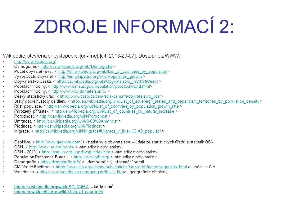 ZDROJE INFORMACÍ 2: Wikipedie, otevřená encyklopedie. [on-line]. [cit. 2013-29-07]. Dostupné z WWW: http://cs.wikipedia.org/ Demografie. http://cs.wik
