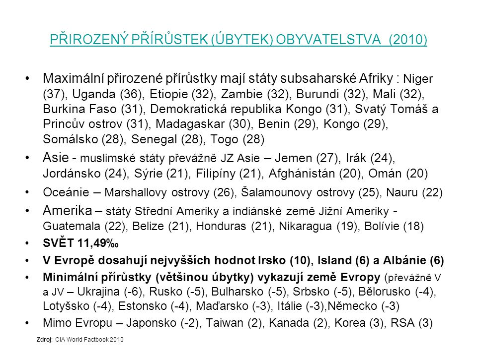 PORODNOST (2012) PORODNOST (2012) – Použity třípísmenné kódy podle ISO (Mezinárodní organizace pro normalizaci) 3166-1.