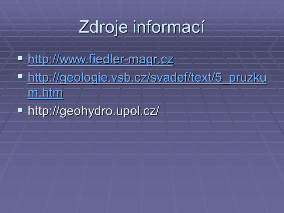 Zdroje informací  http://www.fiedler-magr.cz http://www.fiedler-magr.cz  http://geologie.vsb.cz/svadef/text/5_pruzku m.htm http://geologie.vsb.cz/sv