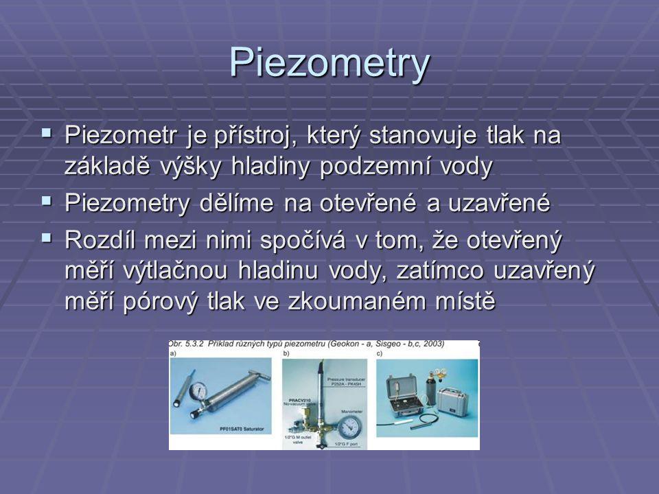Piezometry  Piezometr je přístroj, který stanovuje tlak na základě výšky hladiny podzemní vody  Piezometry dělíme na otevřené a uzavřené  Rozdíl me