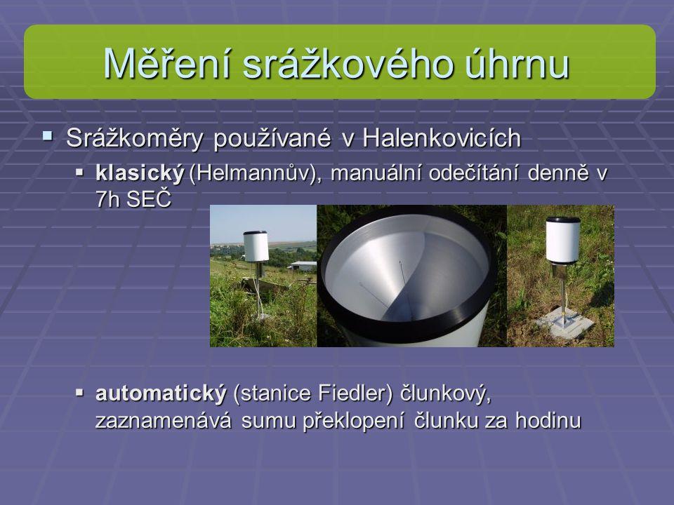 Měření srážkového úhrnu  Srážkoměry používané v Halenkovicích  klasický (Helmannův), manuální odečítání denně v 7h SEČ  automatický (stanice Fiedle
