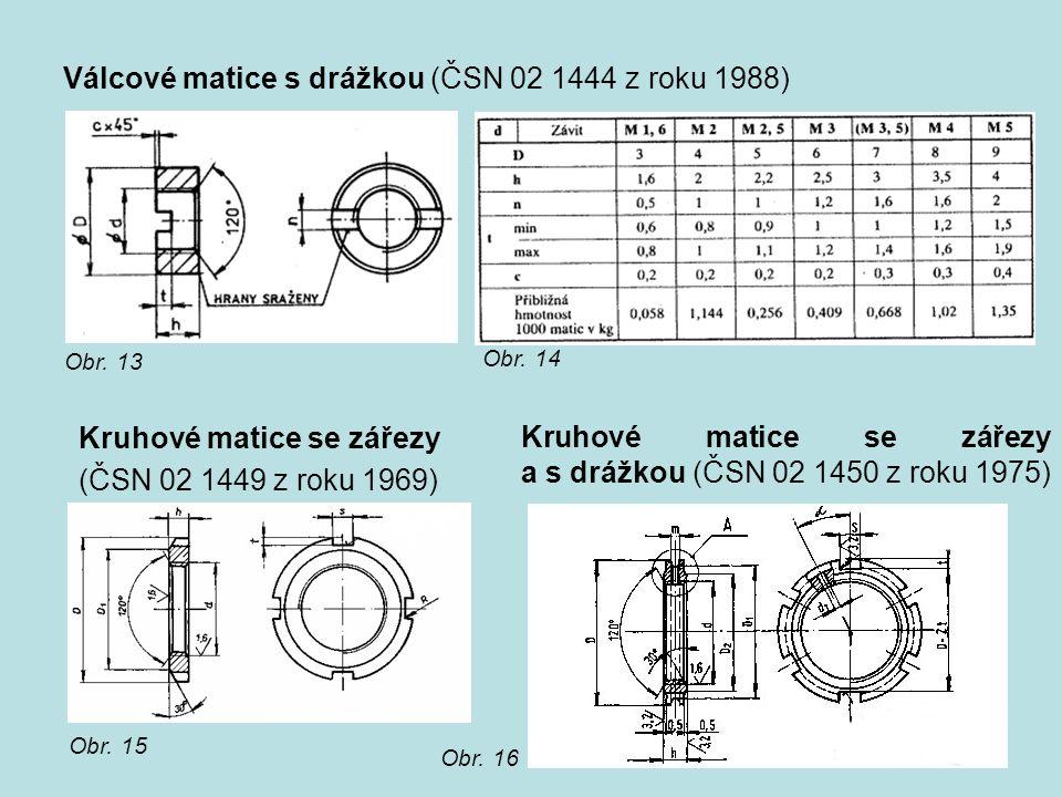 Válcové matice s drážkou (ČSN 02 1444 z roku 1988) Obr. 13 Obr. 14 Kruhové matice se zářezy (ČSN 02 1449 z roku 1969) Obr. 15 Kruhové matice se zářezy