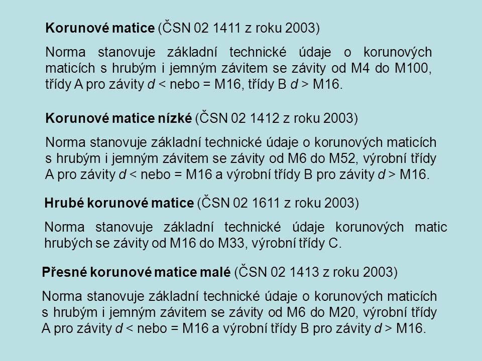 Korunové matice (ČSN 02 1411 z roku 2003) Norma stanovuje základní technické údaje o korunových maticích s hrubým i jemným závitem se závity od M4 do