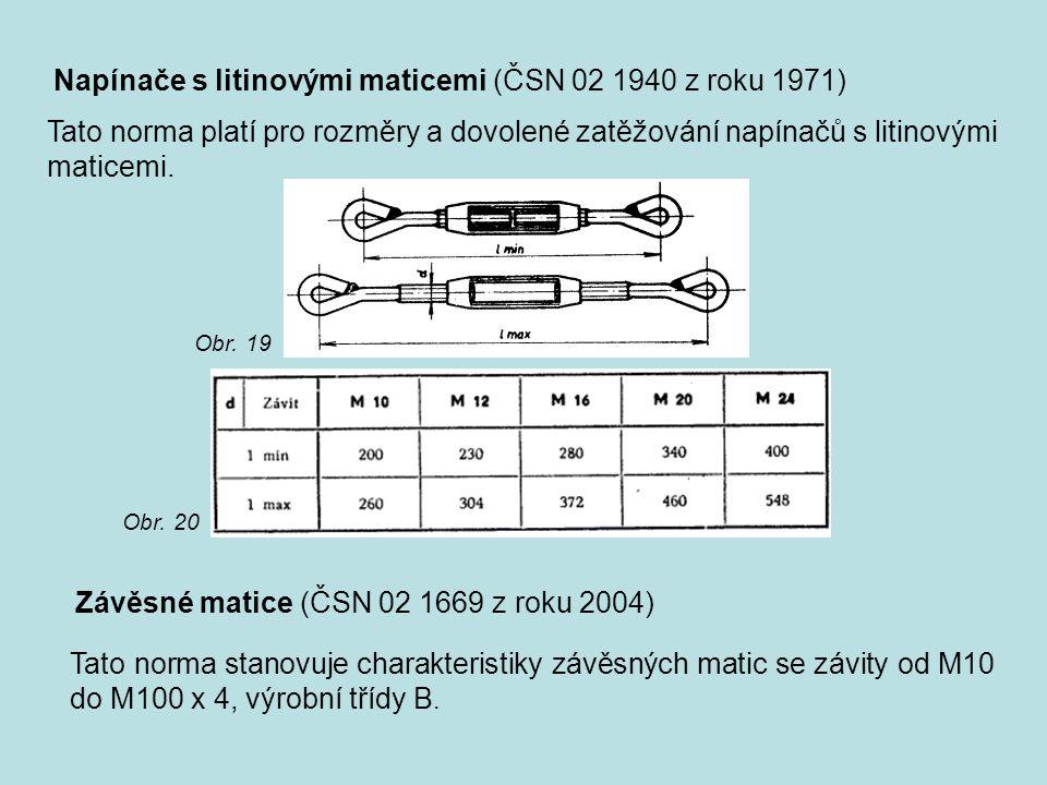 Napínače s litinovými maticemi (ČSN 02 1940 z roku 1971) Tato norma platí pro rozměry a dovolené zatěžování napínačů s litinovými maticemi. Obr. 19 Ob