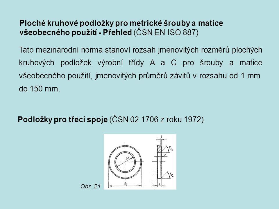 Ploché kruhové podložky pro metrické šrouby a matice všeobecného použití - Přehled (ČSN EN ISO 887) Tato mezinárodní norma stanoví rozsah jmenovitých