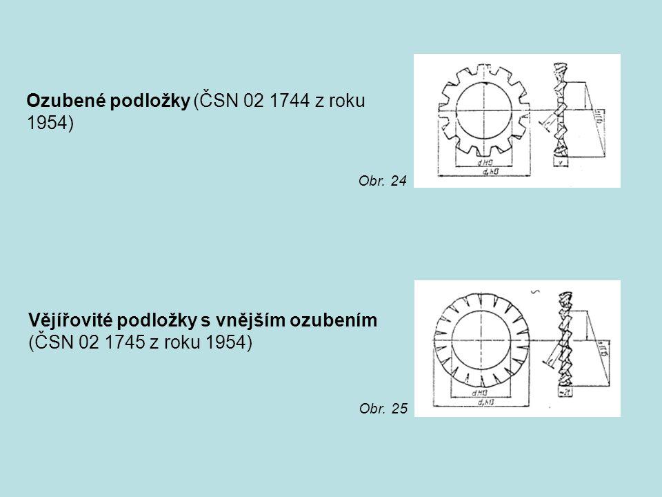 Ozubené podložky (ČSN 02 1744 z roku 1954) Vějířovité podložky s vnějším ozubením (ČSN 02 1745 z roku 1954) Obr. 24 Obr. 25