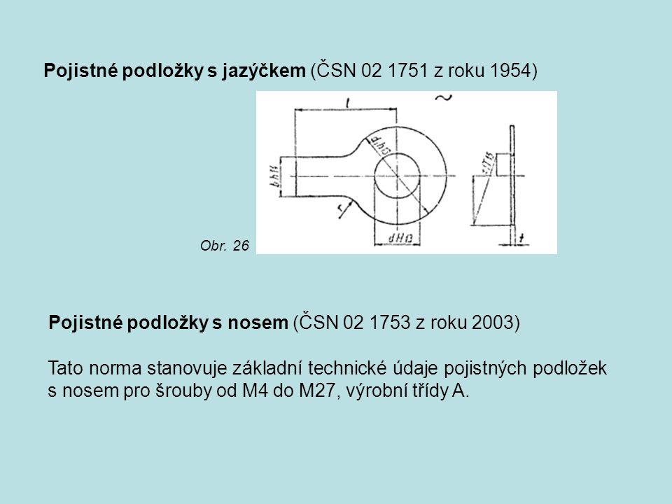 Pojistné podložky s jazýčkem (ČSN 02 1751 z roku 1954) Pojistné podložky s nosem (ČSN 02 1753 z roku 2003) Tato norma stanovuje základní technické úda