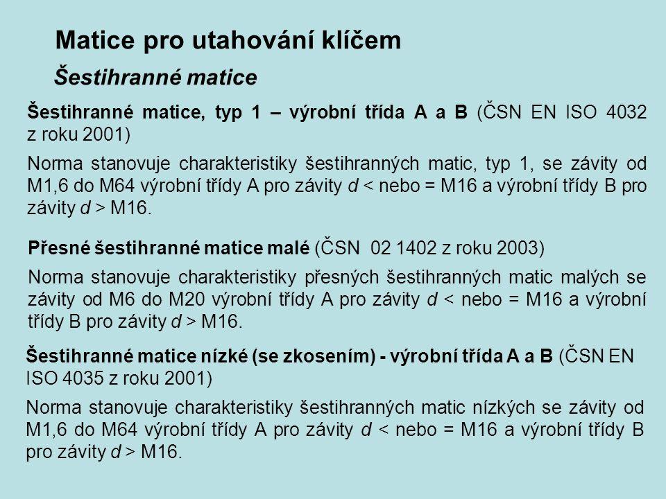 Matice pro utahování klíčem Šestihranné matice, typ 1 – výrobní třída A a B (ČSN EN ISO 4032 z roku 2001) Norma stanovuje charakteristiky šestihrannýc