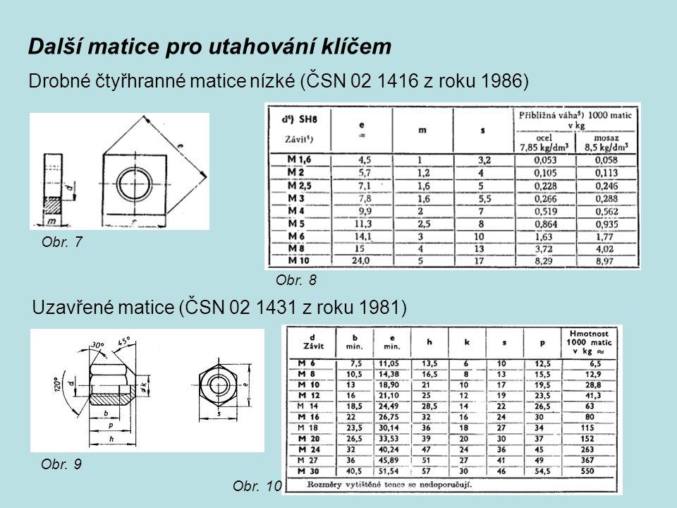 Další matice pro utahování klíčem Drobné čtyřhranné matice nízké (ČSN 02 1416 z roku 1986) Uzavřené matice (ČSN 02 1431 z roku 1981) Obr. 7 Obr. 8 Obr