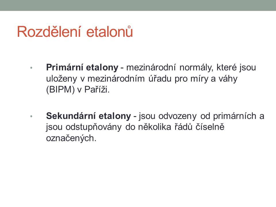 Rozdělení etalonů Primární etalony - mezinárodní normály, které jsou uloženy v mezinárodním úřadu pro míry a váhy (BIPM) v Paříži. Sekundární etalony