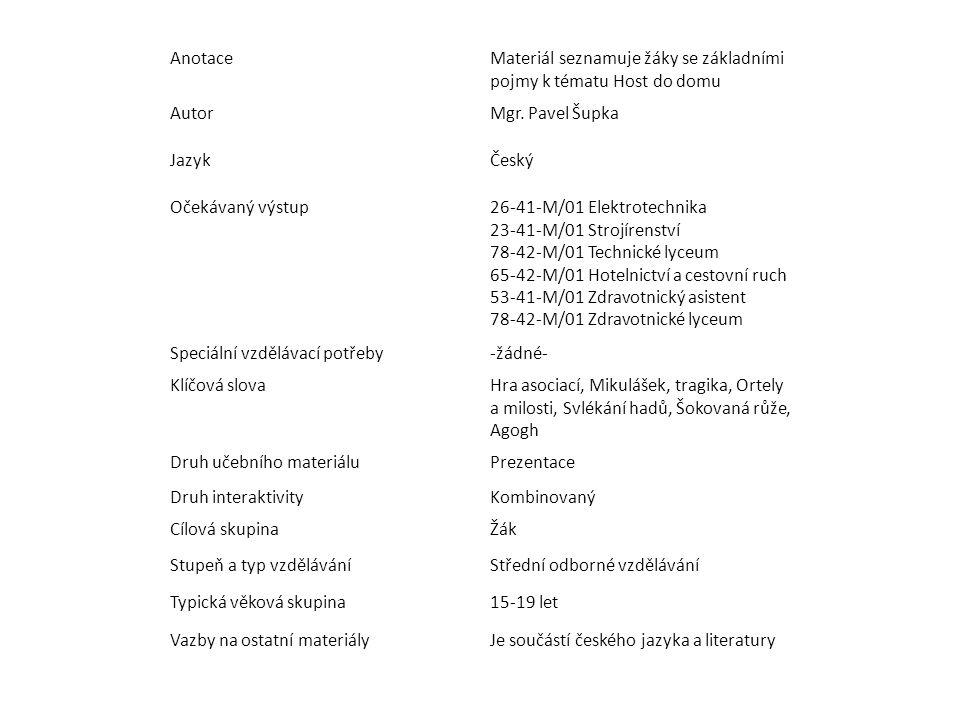 AnotaceMateriál seznamuje žáky se základními pojmy k tématu Host do domu AutorMgr.