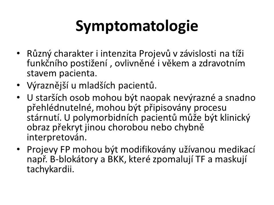 Symptomatologie Různý charakter i intenzita Projevů v závislosti na tíži funkčního postižení, ovlivněné i věkem a zdravotním stavem pacienta. Výrazněj