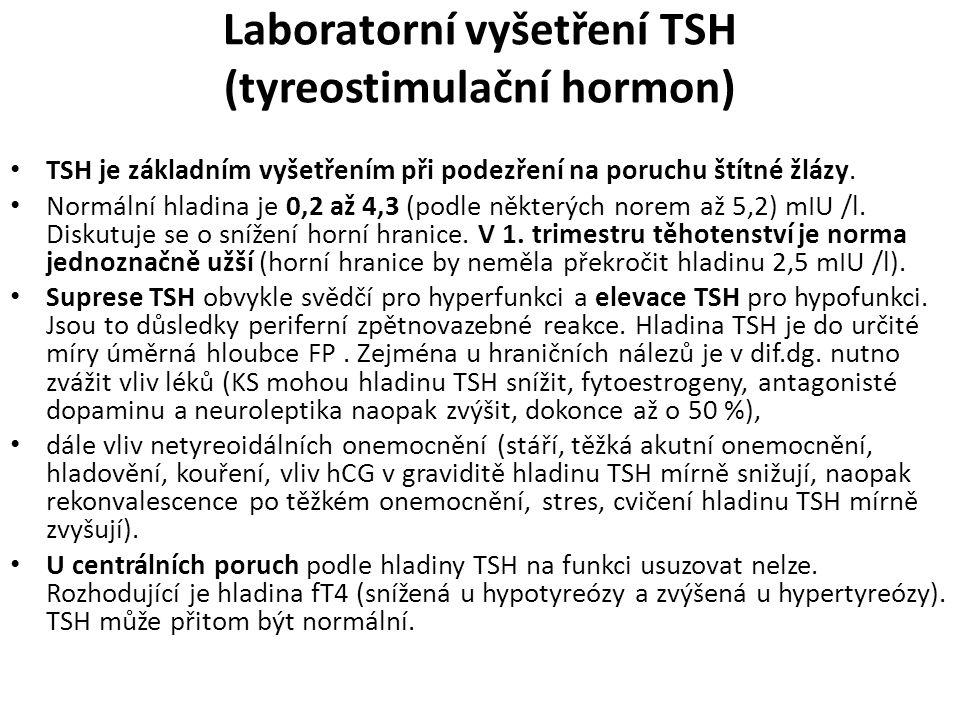 Laboratorní vyšetření TSH (tyreostimulační hormon) TSH je základním vyšetřením při podezření na poruchu štítné žlázy. Normální hladina je 0,2 až 4,3 (
