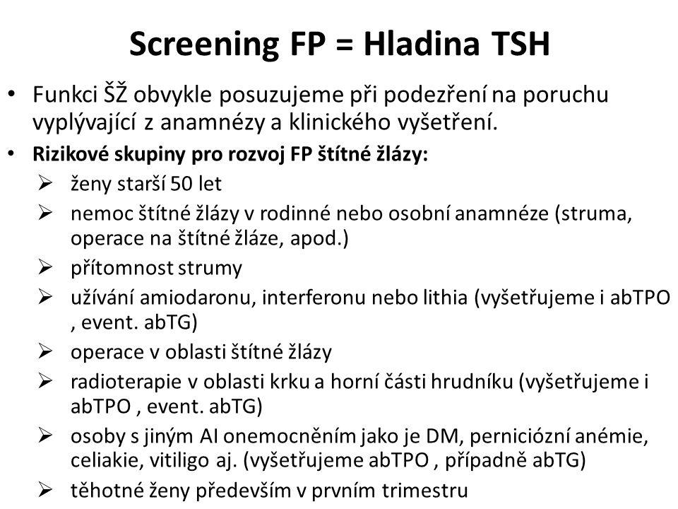 Screening FP = Hladina TSH Funkci ŠŽ obvykle posuzujeme při podezření na poruchu vyplývající z anamnézy a klinického vyšetření. Rizikové skupiny pro r