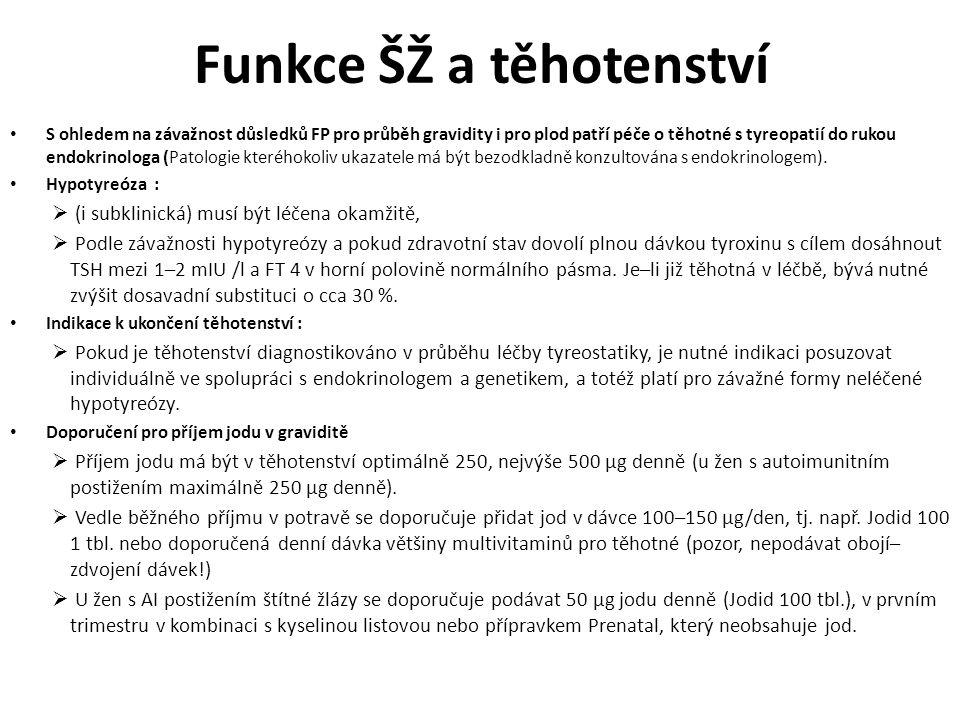 Funkce ŠŽ a těhotenství S ohledem na závažnost důsledků FP pro průběh gravidity i pro plod patří péče o těhotné s tyreopatií do rukou endokrinologa (Patologie kteréhokoliv ukazatele má být bezodkladně konzultována s endokrinologem).