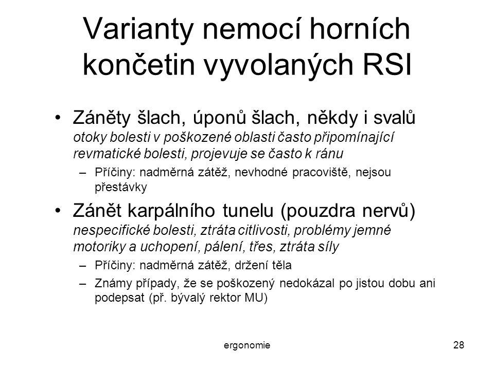 ergonomie28 Varianty nemocí horních končetin vyvolaných RSI Záněty šlach, úponů šlach, někdy i svalů otoky bolesti v poškozené oblasti často připomína