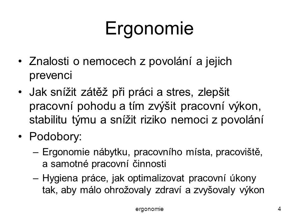 ergonomie45 Psychosomatické nemoci Spíše subjektivní nemoci z nadměrné psychické zátěže (nespokojenost, ubíjející rutina, obecně stres), spíše nervového nebo psychického původu (zprvu), směřující k poruchám vnitřního prostředí.