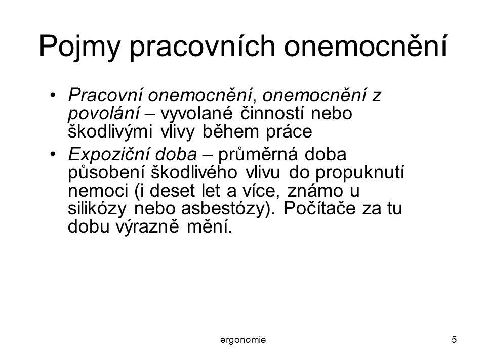 ergonomie46 Psychosomatické nemoci Projevy vyvolávané/zhoršované prací u počítače: –Žaludeční neurózy až vředy (nevolnosti, bolesti,..) –Nespavost a noční děsy –Nechutenství, nadýmání –Potíže s vyměšováním (zácpy, moč) –Poruchy v činnosti vnitřních orgánů (hlavně žlučník a ledviny) –Zesilování těhotenských potíží (chránit těhotné) –Bolesti hlavy a nevolnosti, migrény.