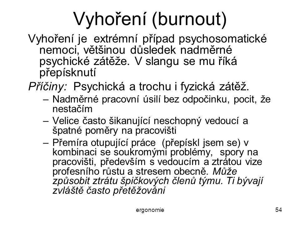 ergonomie54 Vyhoření (burnout) Vyhoření je extrémní případ psychosomatické nemoci, většinou důsledek nadměrné psychické zátěže. V slangu se mu říká př