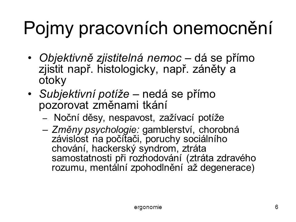 ergonomie6 Pojmy pracovních onemocnění Objektivně zjistitelná nemoc – dá se přímo zjistit např. histologicky, např. záněty a otoky Subjektivní potíže