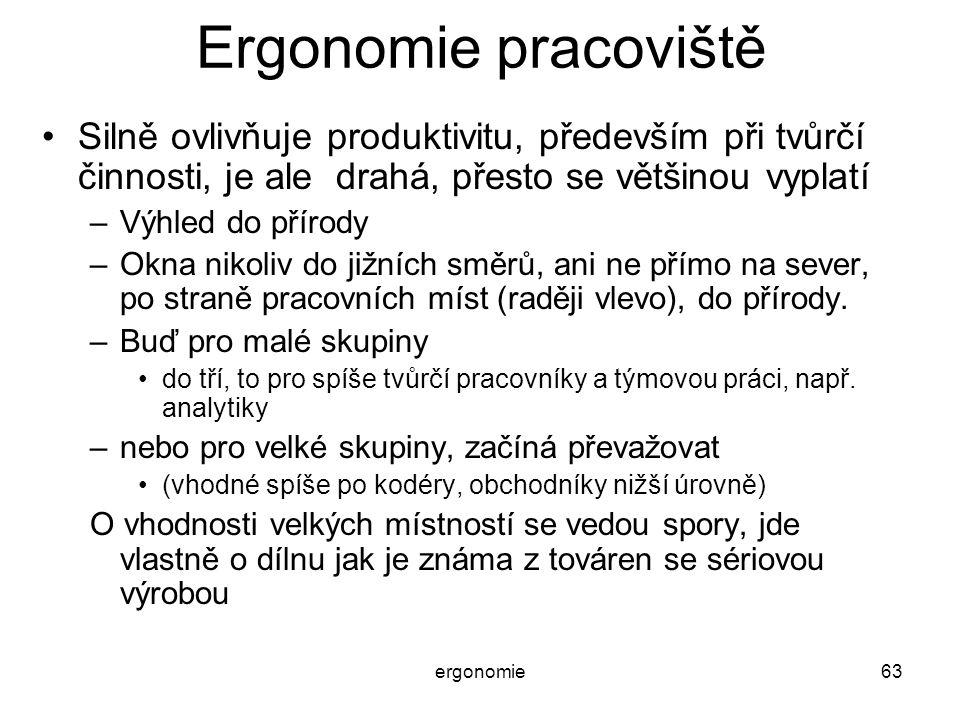 ergonomie63 Ergonomie pracoviště Silně ovlivňuje produktivitu, především při tvůrčí činnosti, je ale drahá, přesto se většinou vyplatí –Výhled do přír