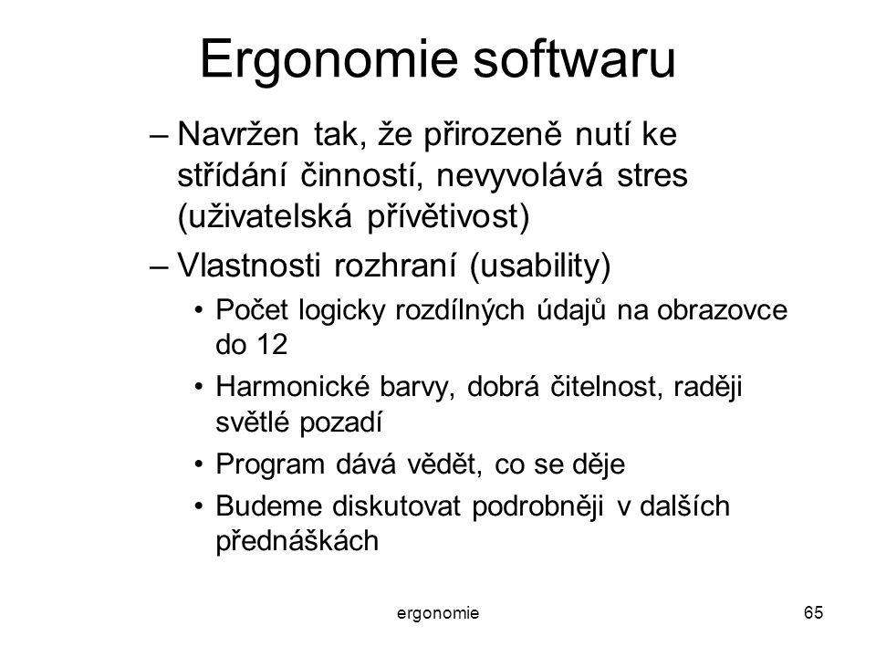 ergonomie65 Ergonomie softwaru –Navržen tak, že přirozeně nutí ke střídání činností, nevyvolává stres (uživatelská přívětivost) –Vlastnosti rozhraní (