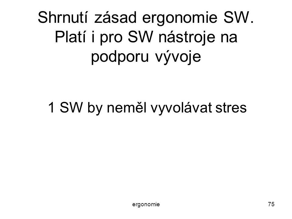 ergonomie75 Shrnutí zásad ergonomie SW. Platí i pro SW nástroje na podporu vývoje 1 SW by neměl vyvolávat stres