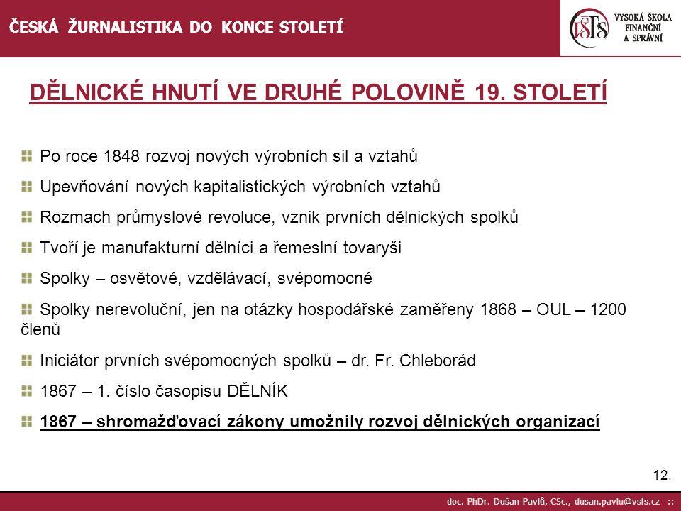 12. doc. PhDr. Dušan Pavlů, CSc., dusan.pavlu@vsfs.cz :: ČESKÁ ŽURNALISTIKA DO KONCE STOLETÍ Po roce 1848 rozvoj nových výrobních sil a vztahů Upevňov