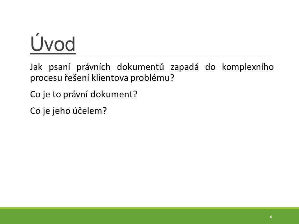 Úvod Jak psaní právních dokumentů zapadá do komplexního procesu řešení klientova problému? Co je to právní dokument? Co je jeho účelem? 4