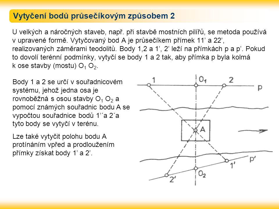 Vytyčení bodů průsečíkovým způsobem 2 U velkých a náročných staveb, např. při stavbě mostních pilířů, se metoda používá v upravené formě. Vytyčovaný b