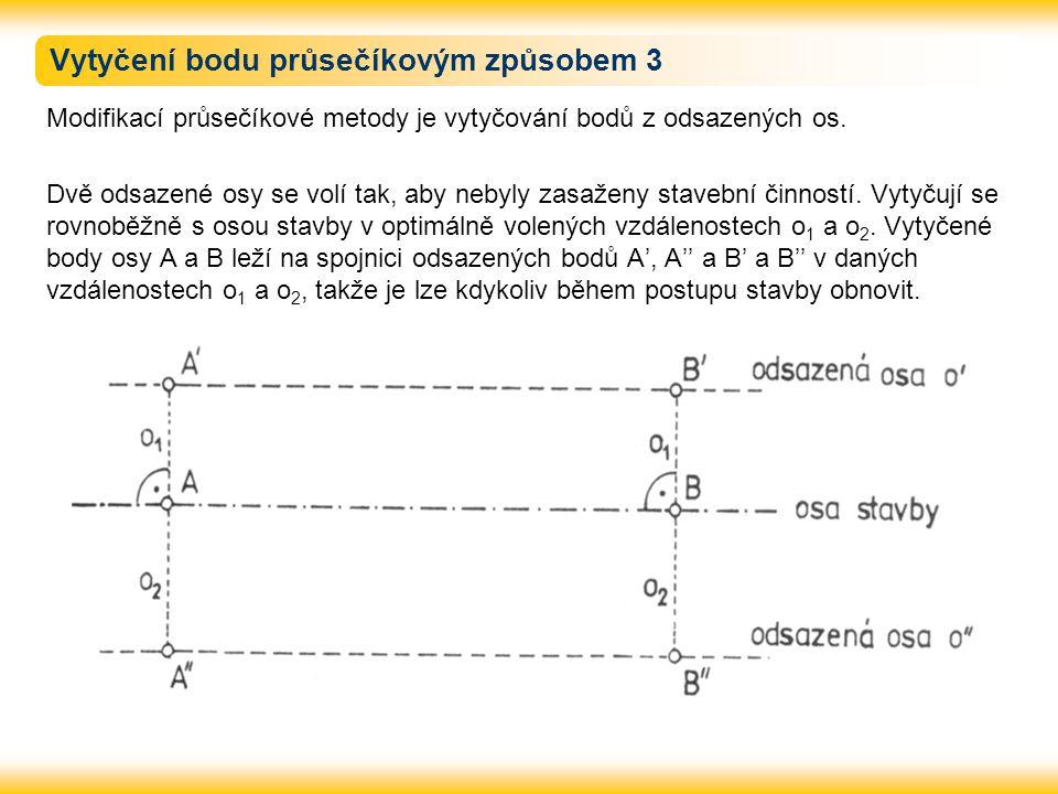 Vytyčení bodu průsečíkovým způsobem 3 Modifikací průsečíkové metody je vytyčování bodů z odsazených os. Dvě odsazené osy se volí tak, aby nebyly zasaž