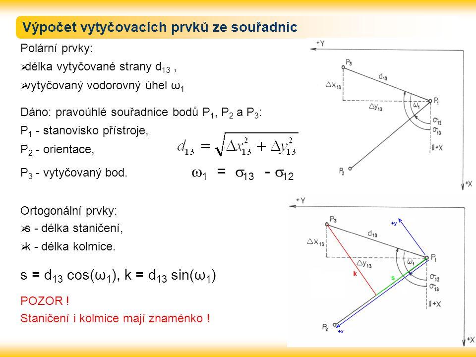 Výpočet vytyčovacích prvků ze souřadnic Polární prvky:  délka vytyčované strany d 13,  vytyčovaný vodorovný úhel ω 1 Dáno: pravoúhlé souřadnice bodů