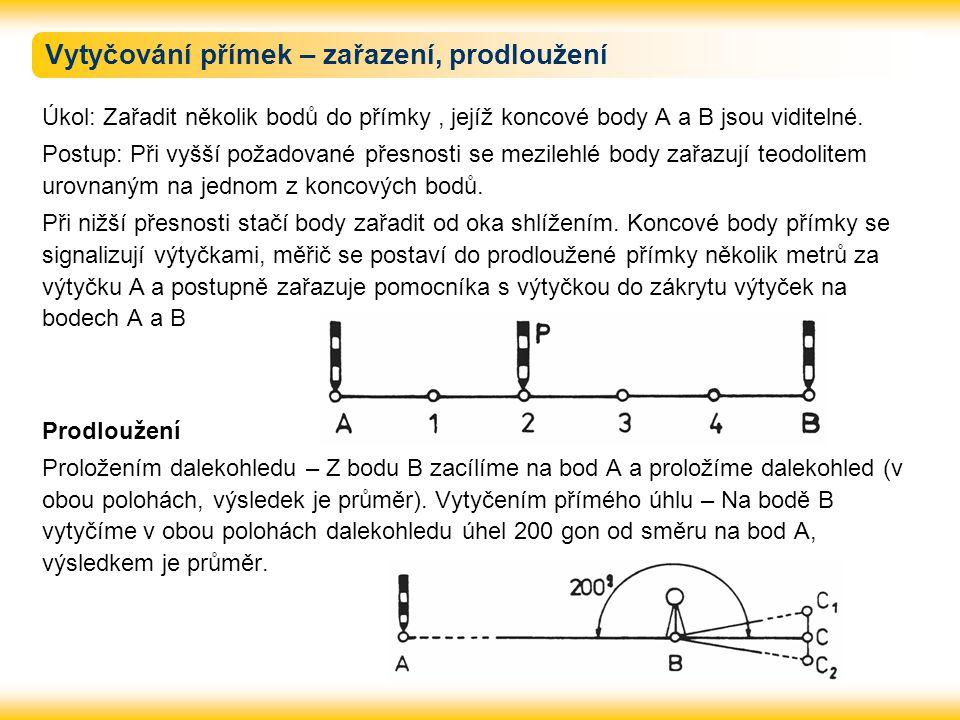 Vytyčování přímek – zařazení, prodloužení Úkol: Zařadit několik bodů do přímky, jejíž koncové body A a B jsou viditelné. Postup: Při vyšší požadované