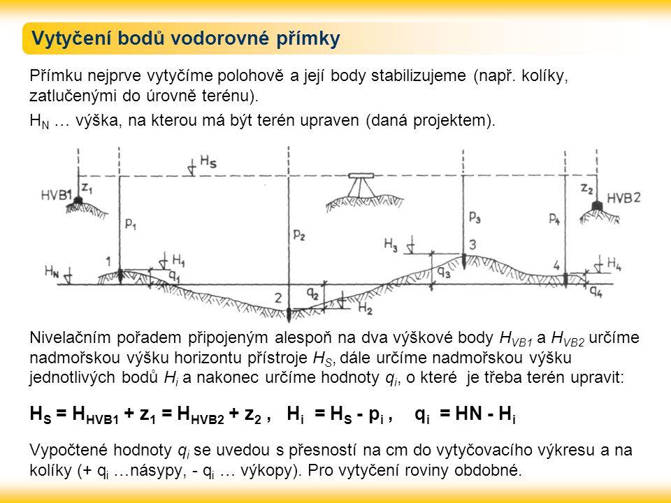 Vytyčení bodů vodorovné přímky Přímku nejprve vytyčíme polohově a její body stabilizujeme (např. kolíky, zatlučenými do úrovně terénu). H N … výška, n