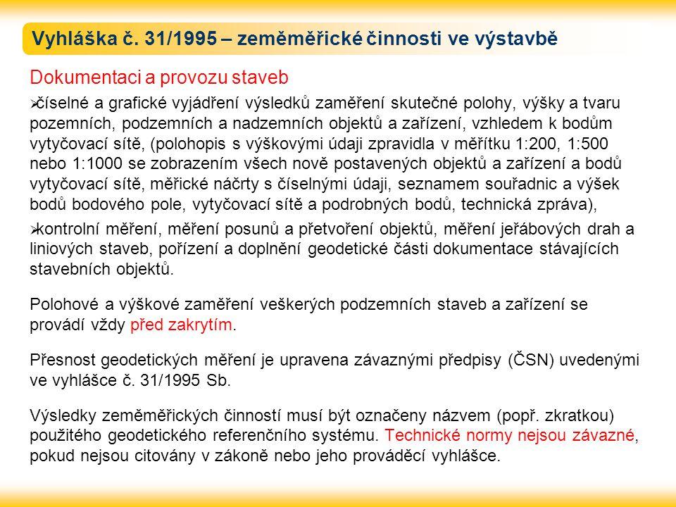 Vyhláška č. 31/1995 – zeměměřické činnosti ve výstavbě Dokumentaci a provozu staveb  číselné a grafické vyjádření výsledků zaměření skutečné polohy,