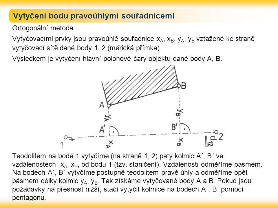 Vytyčení protínáním vpřed z úhlů Vytyčovací prvky - vodorovné úhly  1 a  2 vztažené ke spojnici známých bodů 1 a 2.