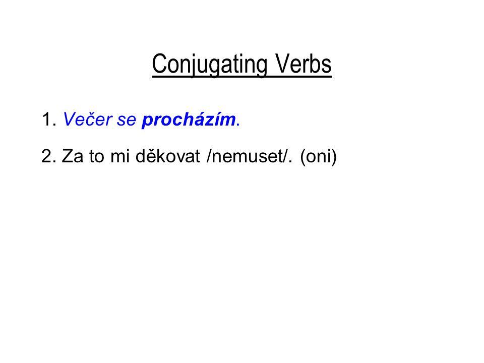 Conjugating Verbs 1. Večer se procházím. 2. Za to mi děkovat /nemuset/. (oni)