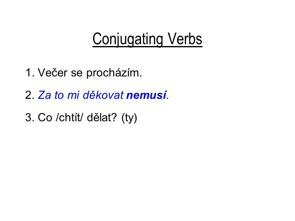 Conjugating Verbs 1. Večer se procházím. 2. Za to mi děkovat nemusí. 3. Co /chtít/ dělat? (ty)